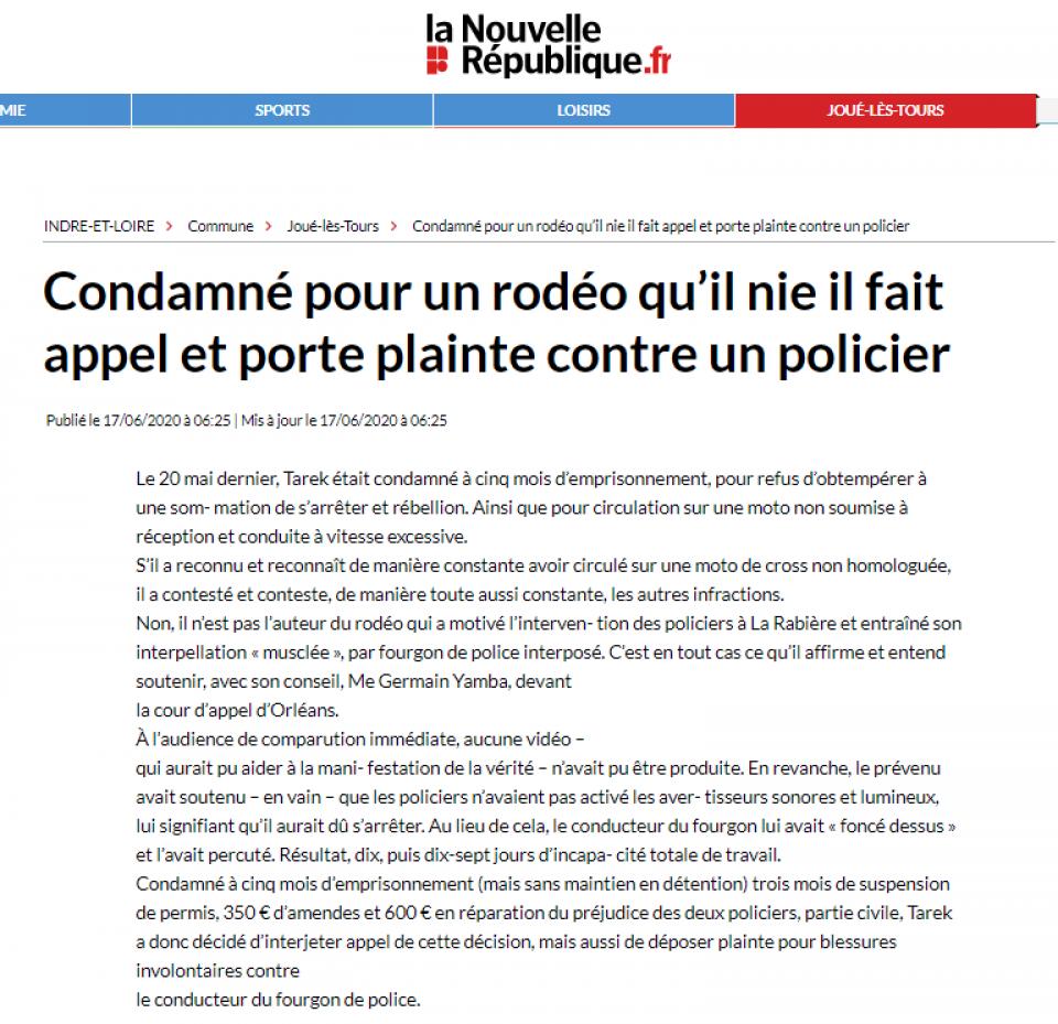 La Nouvelle République - Condamné pour un rodéo qu'il nie il fait appel et porte plainte contre un policier - Maître Germain YAMBA